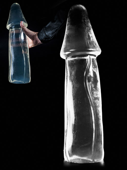 Dark Crystal Clear X-Large Dildo DCC31 - red colored
